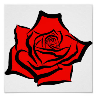 Drawn red rose digital Rose Zazzle Rose Poster Illustration