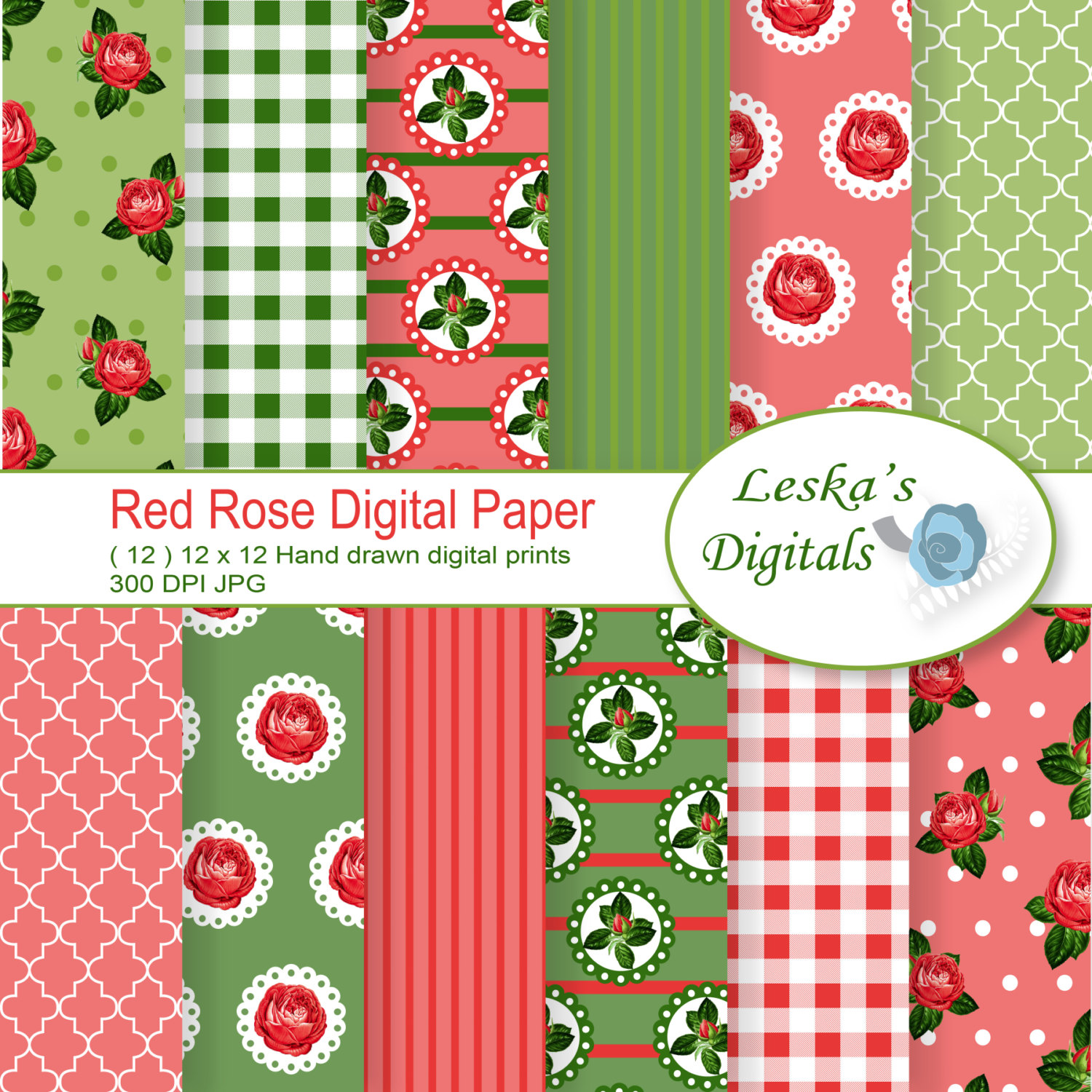 Drawn red rose digital Is Digital Shabby garden cottage