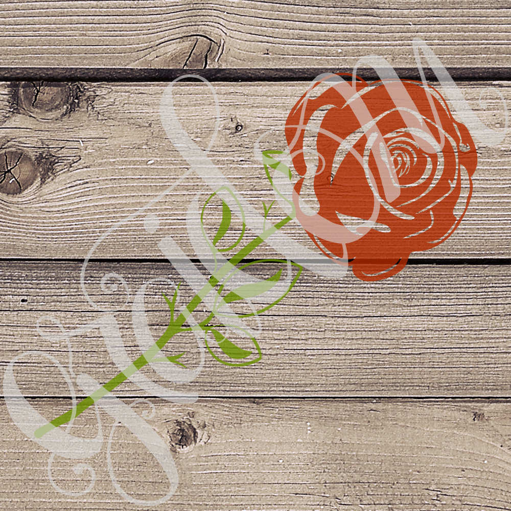 Drawn red rose digital Is  svg png only