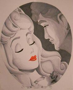 Drawn red rose disney princess Aurora by and Princess Art