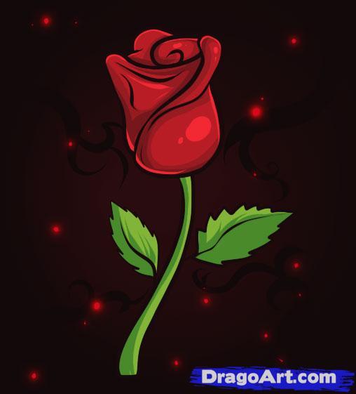 Drawn red rose dragoart Clip Step Cartoon Rose Rose