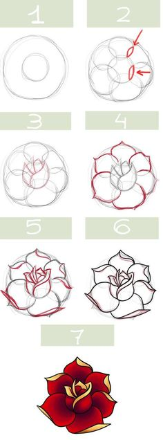 Drawn red rose drawed Pinterest step by drawing