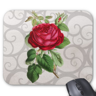 Drawn red rose drawed Mouse pad draw rose Roses