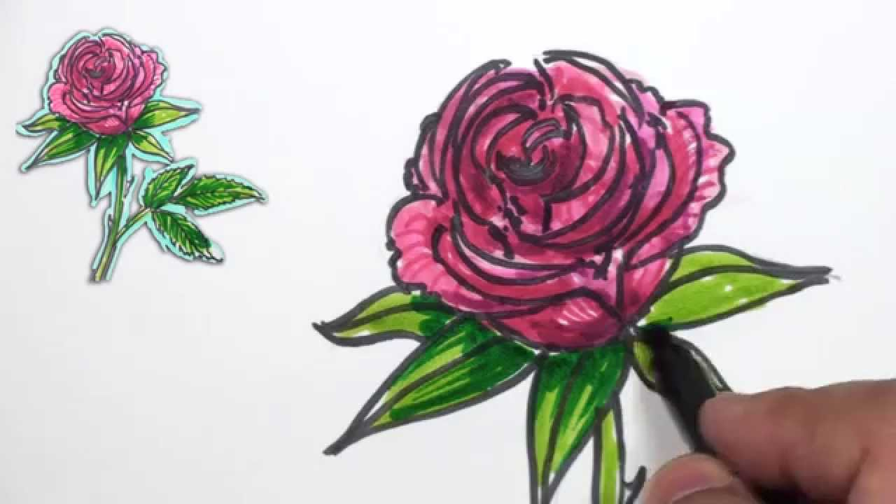 Drawn rose marker Simple Draw MAT Rose Red