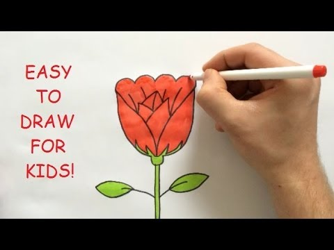 Drawn red rose easy Step By YouTube For Draw