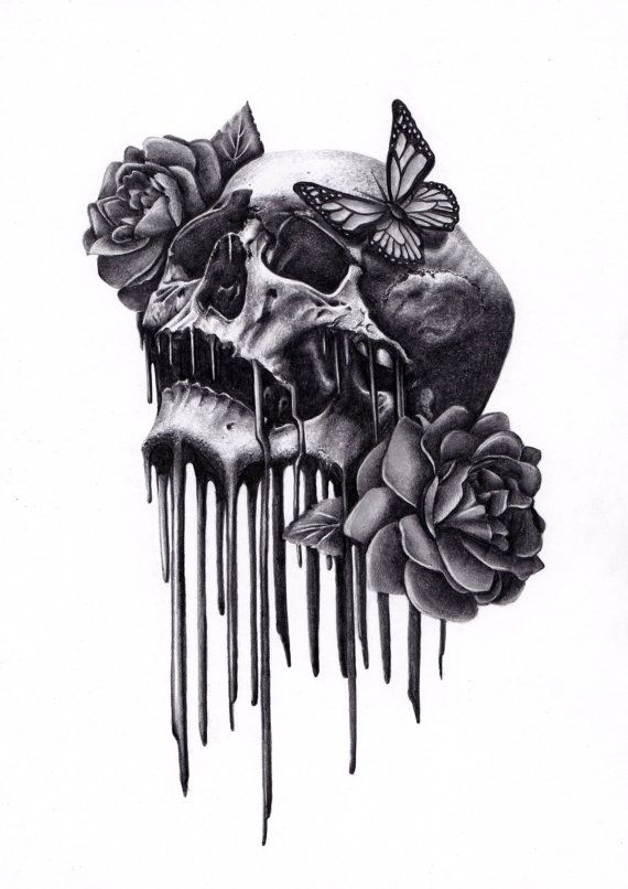 Drawn rose love On rose Best Drawing Skull