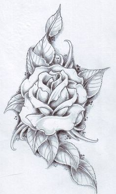 Drawn red rose fancy Rose a white tattoo ink