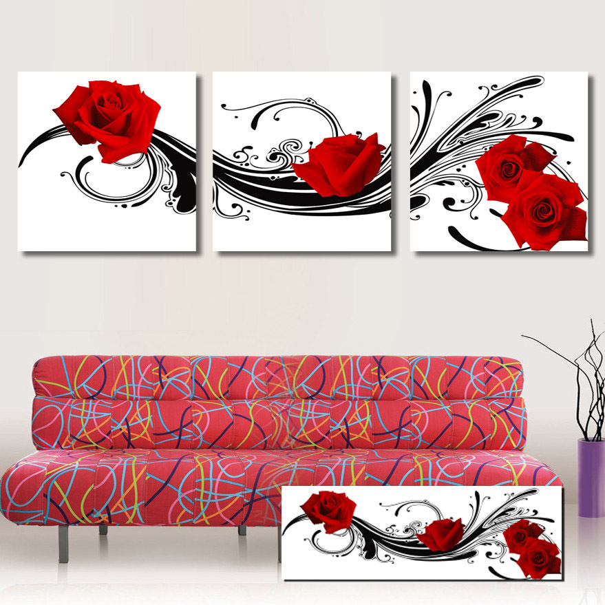 Drawn red rose flower abstract Rose Wall Piece Sofa Abstract