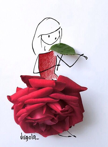 Drawn red rose flower leave Dress in wearing Art