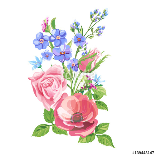 Drawn red rose flower leave Pink  pink red and