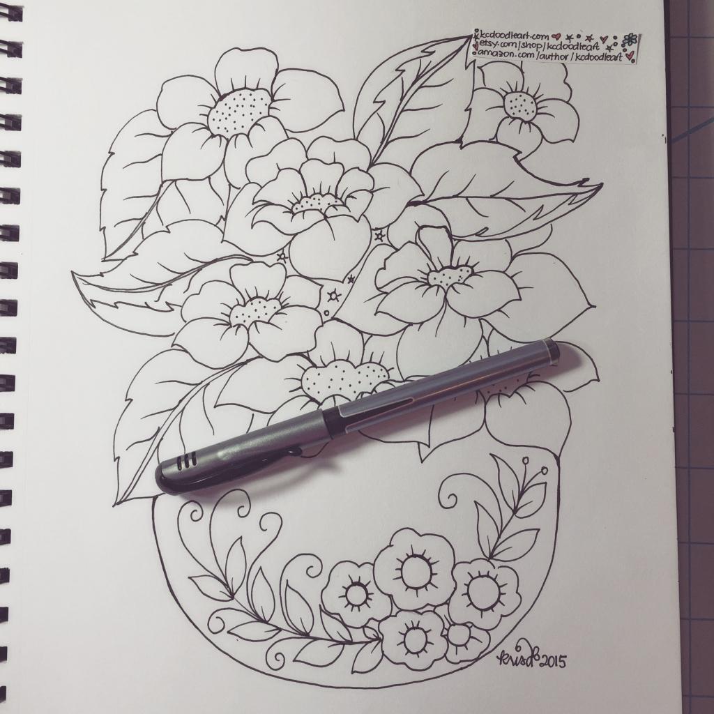 Drawn red rose glass vase Flower Red – In Flower