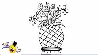 Drawn red rose glass vase Rose A Drawing red الكتروني