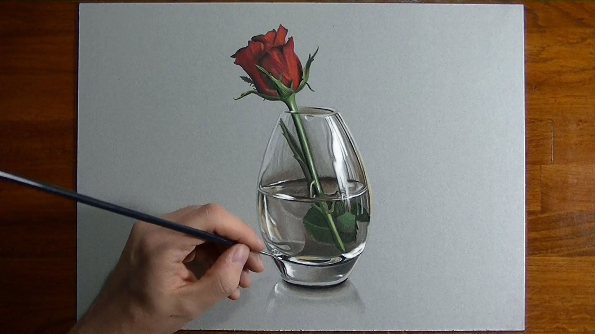 Drawn rose glass vase Time 3D Flower Of Drawing
