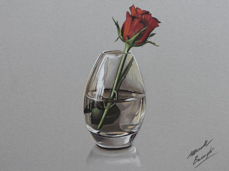 Drawn red rose glass vase Marcello red Drawing rose rose