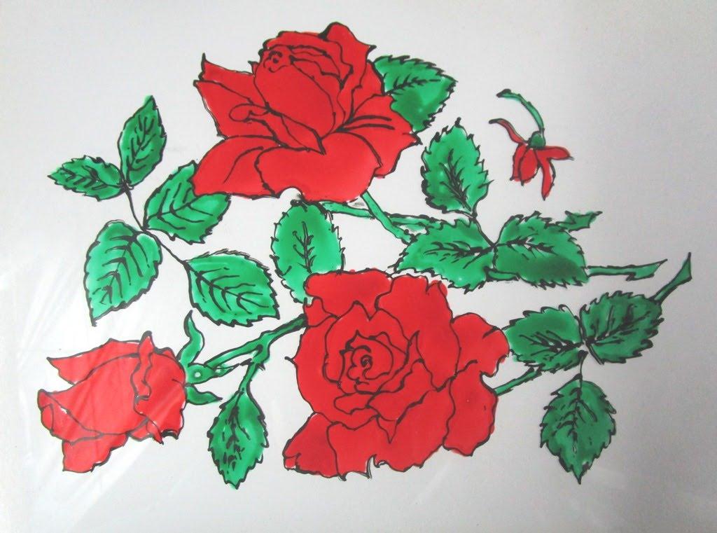 Drawn red rose glass vase Flower Flower Glass Rose on