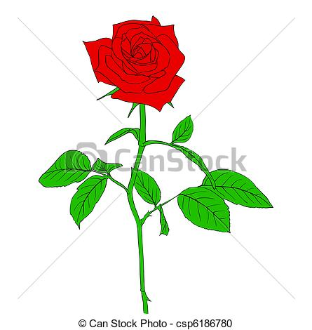 Drawn red rose graphic In red hand Clipart drawn