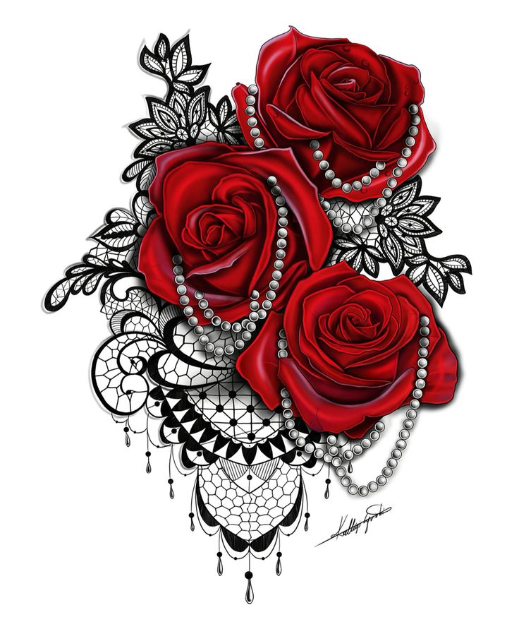 Drawn red rose heart Buy on tattoo lace design