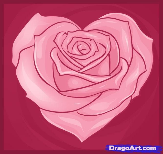Drawn red rose heart How Heart Roses images Draw