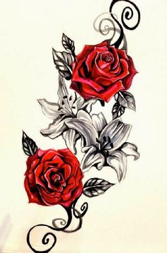 Drawn red rose individual Tattoo la and Belagoria Designs