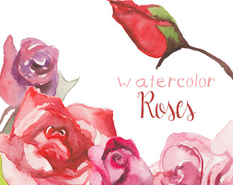 Drawn red rose individual Watercolor Drawn Etsy rose Clip