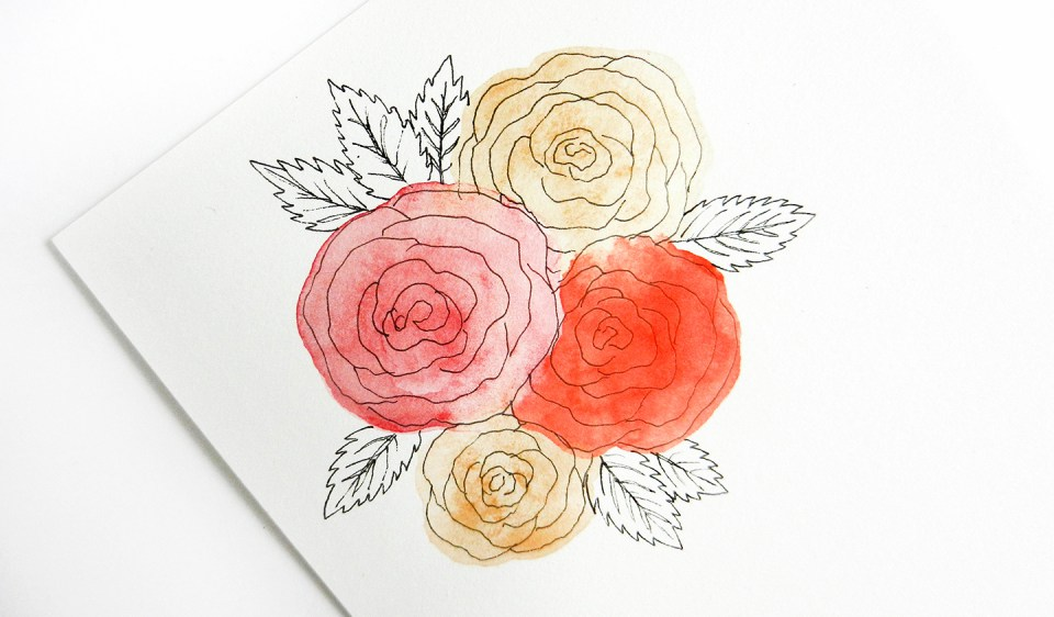 Drawn red rose individual Draw to The to Roses