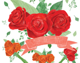 Drawn red rose individual Bouquet Cliaprt_Rose rose clipart rose