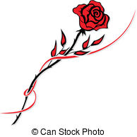 Drawn red rose isolated Drawing Simple rose red Stock