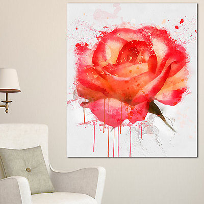 Drawn red rose large 'red Canvas Designart drawn Extra