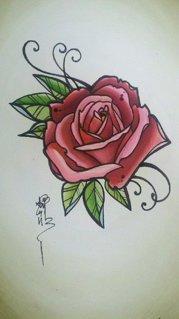 Drawn red rose little red Original by rose 250 Pinterest