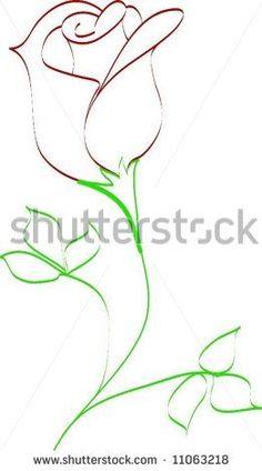 Drawn red rose minimalist (RF) Pin Clip this Dibujo