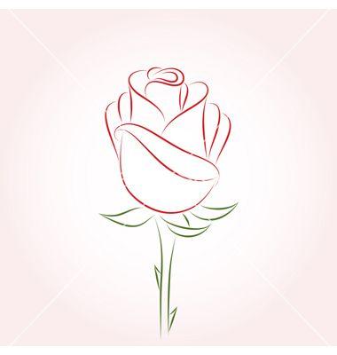 Drawn red rose minimalist On vector Rose Best ideas