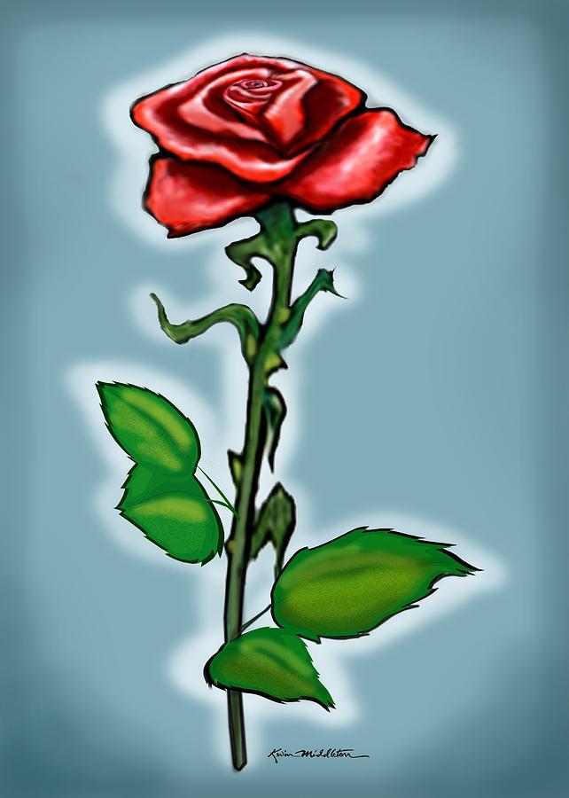 Drawn red rose most beautiful single Rose Rose Rose Drawing Red