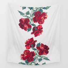 Drawn red rose new york state Roses Red Wall Vintage Tapestries