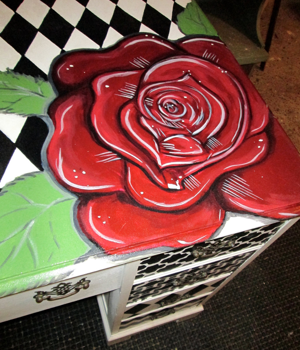 Drawn red rose one Hand hand desk painted drawn