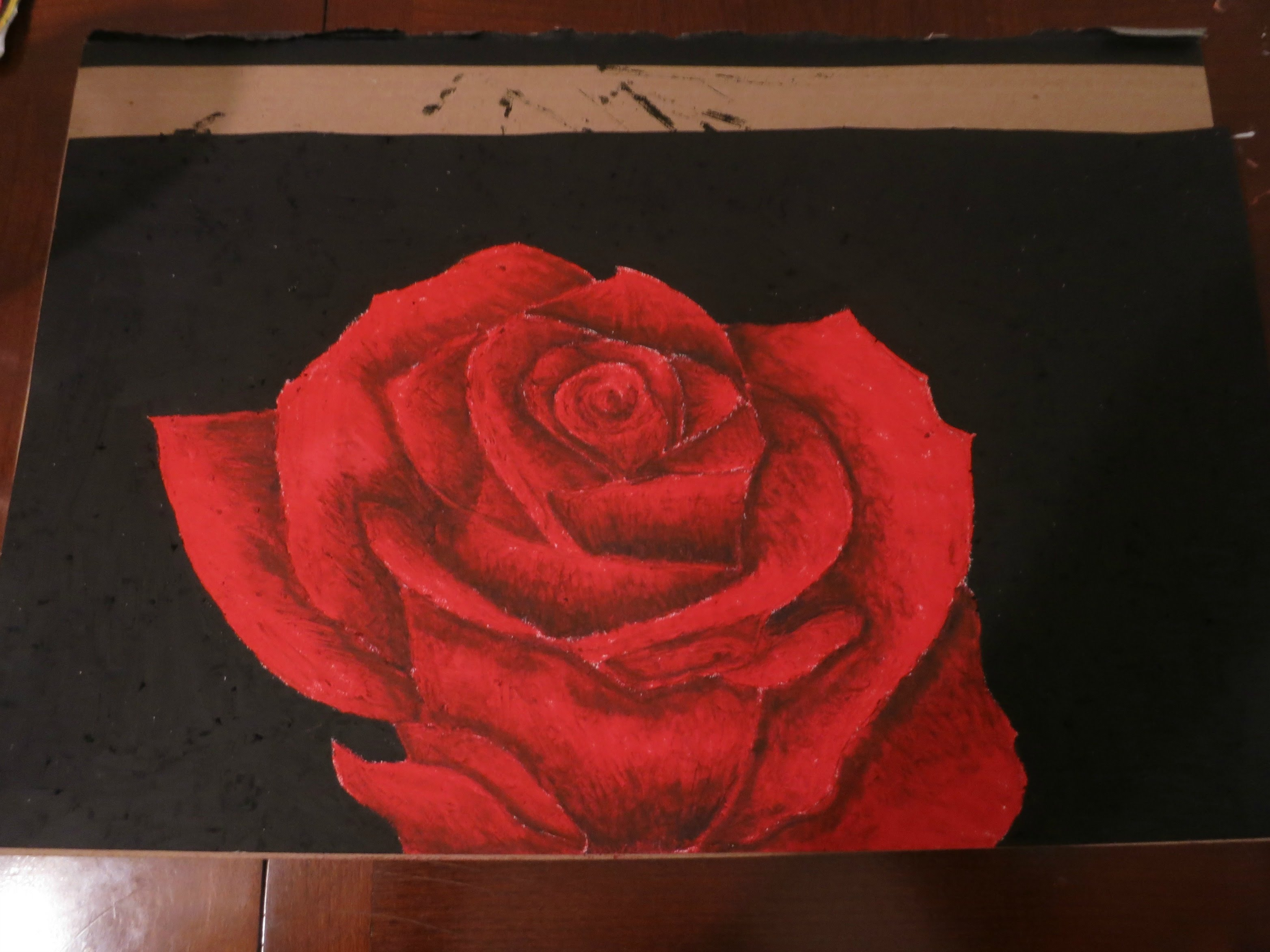 Drawn red rose pastel drawing Rose Oil Oil YouTube Pastel