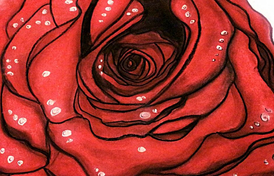 Drawn red rose pastel drawing Pastel by Drawing Rose Red