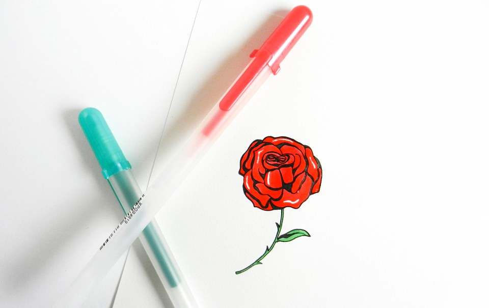 Drawn red rose pen drawing Roses Draw Knock Postman's to