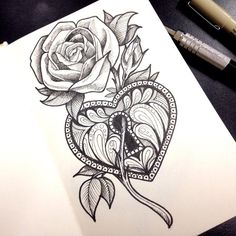 Drawn red rose pen drawing #pen #tatuagem #micron world's #moleskine