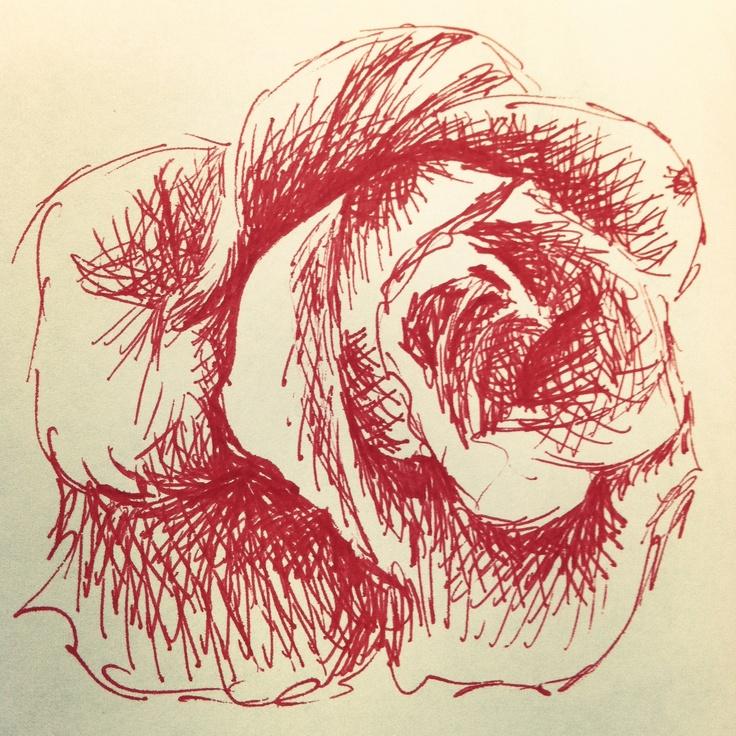 Drawn red rose pen drawing Doodle roses sketch: Pinterest #pen