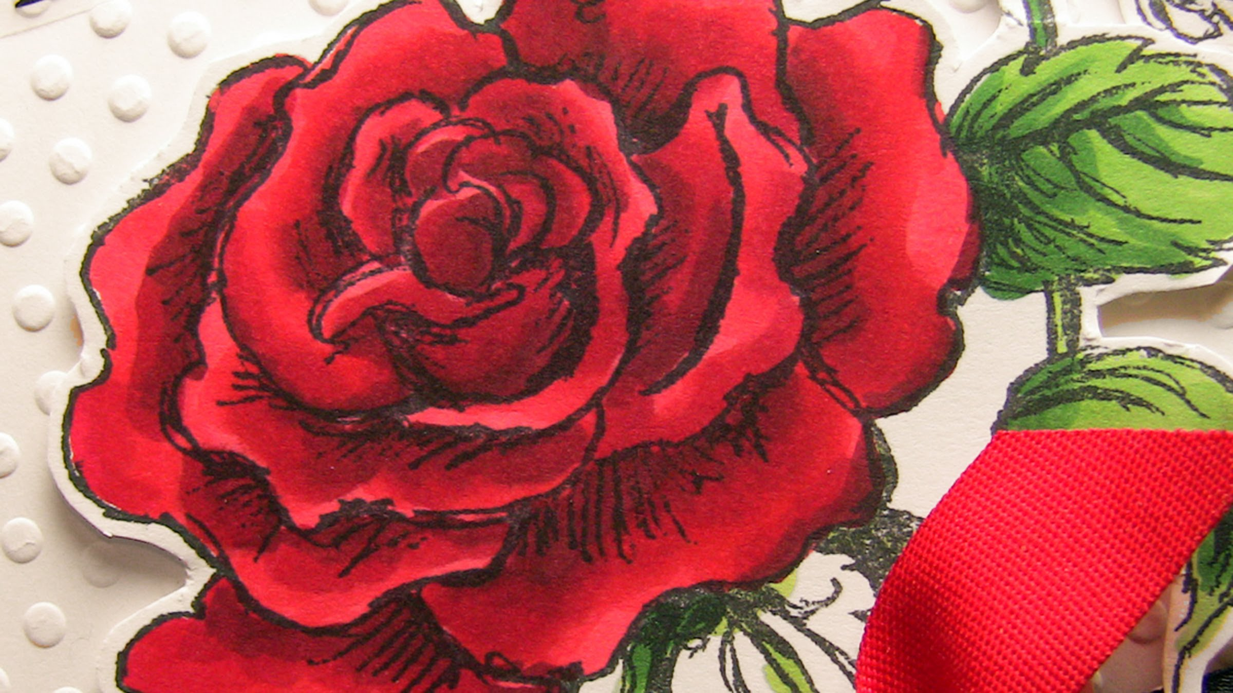 Drawn red rose pen drawing Red a (Copic markers)