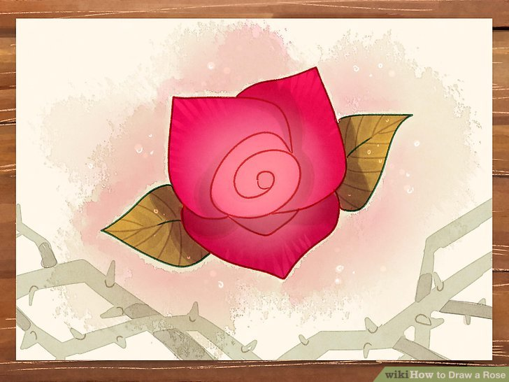 Drawn red rose pencil crayon Rose 3 wikiHow Easy Draw