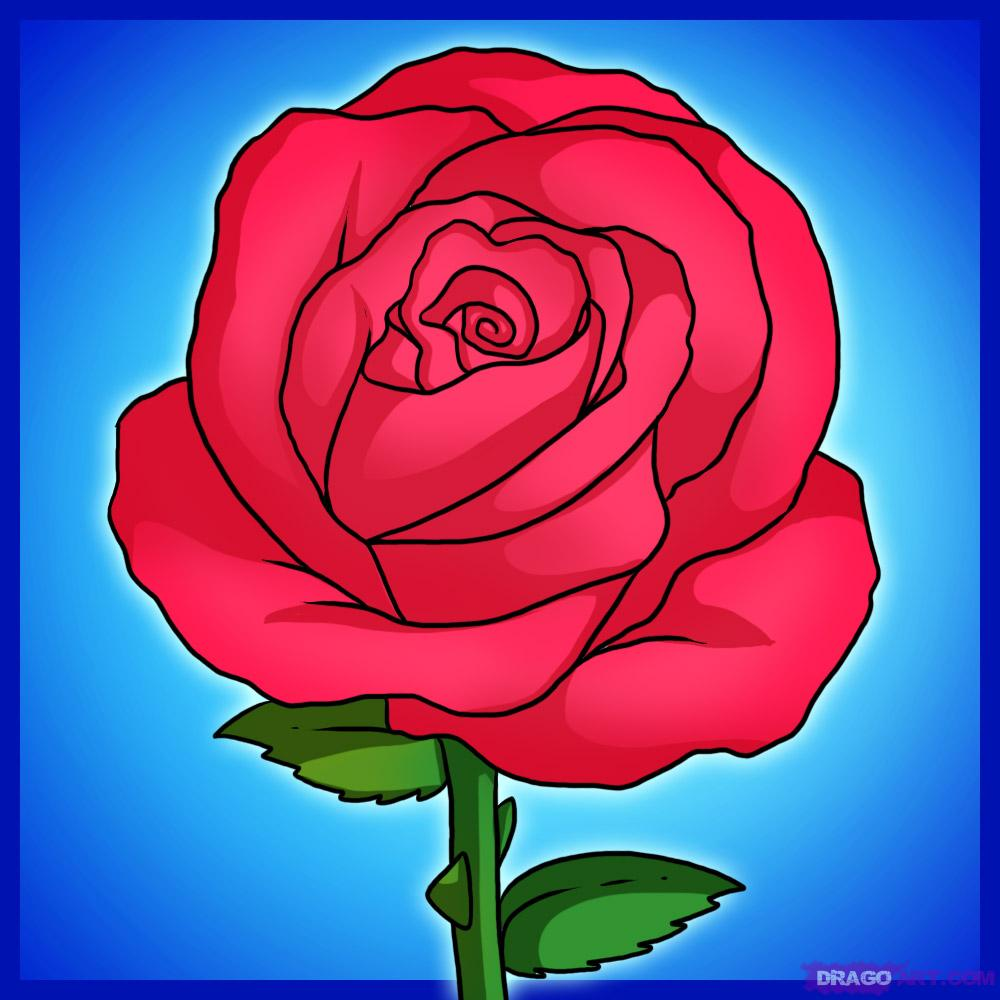 Drawn rose cartoon Rose Clip Step by Cartoon