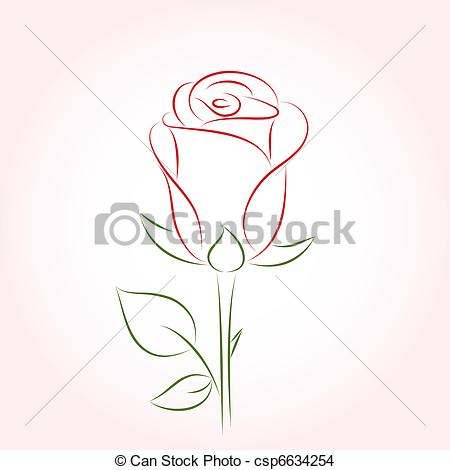 Drawn red rose pink rose On Vector csp6634254 pink a