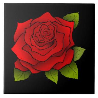 Drawn red rose pink rose Red Tile Large Tiles Black