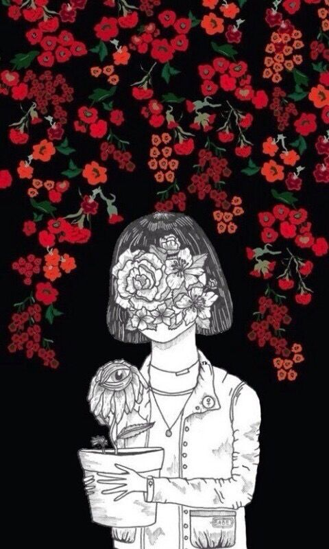 Drawn red rose plant WALLPAPERS on best iphone girl