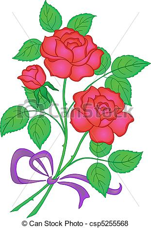 Drawn red rose pretty flower Csp5255568 red love red Vector