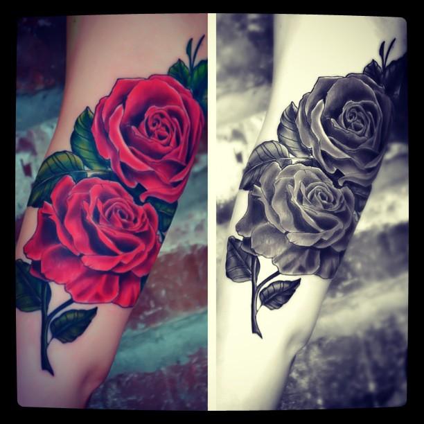 Drawn red rose purple rose Tattoo rose Google Search Black