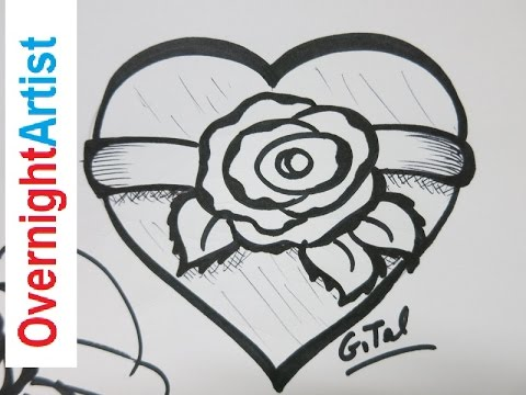 Drawn red rose ribbon drawing How Heart To A Rose