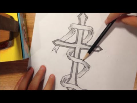 Drawn ribbon pencil drawing Cross how a to to