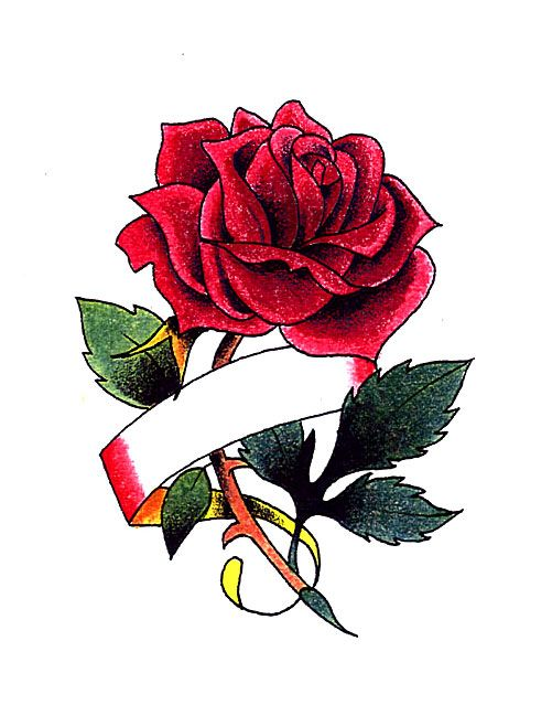 Drawn red rose ribbon drawing Tattoos With Red Best Rose